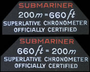 Depth information from the dial of a Submariner watch.
